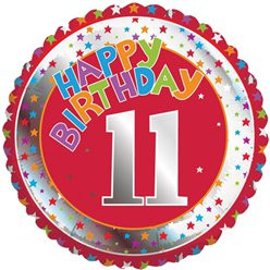 "Colourful Round 11th Birthday Balloon - 18"" Foil"