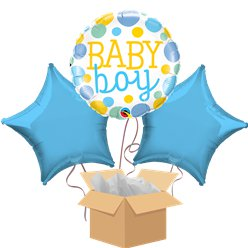 Dotty Baby Boy Balloon Bouquet - Delivered Inflated