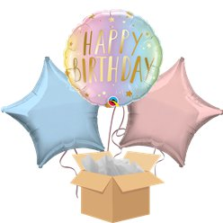 Happy Birthday Pastel Ombre Balloon Bouquet - Delivered Inflated