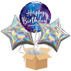 Happy Birthday Galaxy Balloon Bouquet - Delivered Inflated