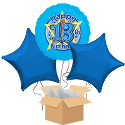 Happy 13th Birthday Blue Balloon Bouquet - Delivered Inflated