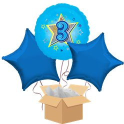 Happy 3rd Birthday Blue Balloon Bouquet - Delivered Inflated