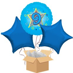 Happy 9th Birthday Blue Balloon Bouquet - Delivered Inflated