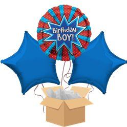 Birthday Boy Balloon Bouquet - Delivered Inflated