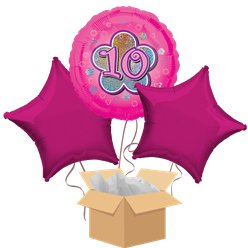 Happy 10th Birthday Pink Balloon Bouquet - Delivered Inflated