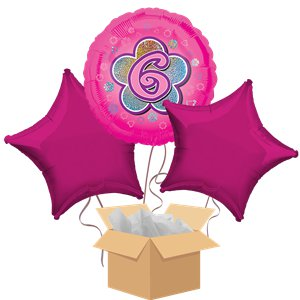Happy 6th Birthday Pink Balloon Bouquet - Delivered Inflated