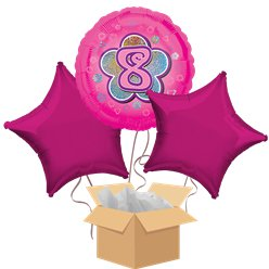 Happy 8th Birthday Pink Balloon Bouquet - Delivered Inflated