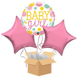 Dotty Baby Girl Balloon Bouquet - Delivered Inflated