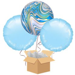 Blue Marblez Orbz Balloon Bouquet - Delivered Inflated