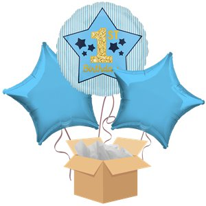1st Birthday Blue Balloon Bouquet - Delivered Inflated