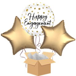 Happy Engagement Gold Dots Balloon Bouquet - Delivered Inflated