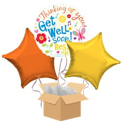 Get Well Soon Balloon Bouquet - Delivered Inflated