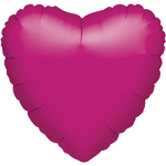 "Metallic Fuchsia Pink Heart Balloon - 18"" Foil - unpackaged"