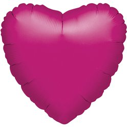 "Metallic Fuchsia Pink Heart Valentines Balloon - 18"" Foil - unpackaged"