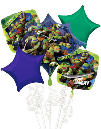 Ninja Turtles Happy Birthday Balloon Bouquet - Assorted Foil
