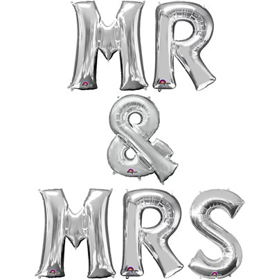 'Mr & Mrs' Silver Balloon Kit - 16""