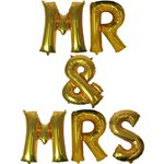 'Mr & Mrs' Gold Balloon Kit - 16""