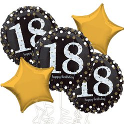 18th Birthday Gold Sparkling Celebration Balloon Bouquet - Assorted Foil 18""