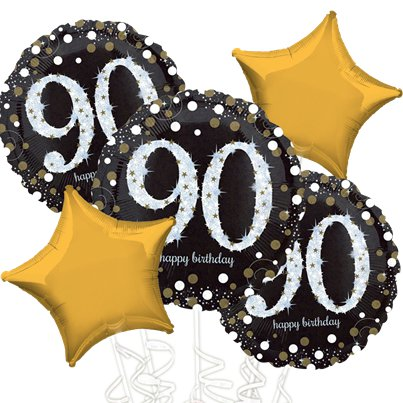 90th Birthday Gold Sparkling Celebration Balloon Bouquet - Assorted Foil 18""