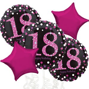 18th Birthday Pink Sparkling Celebration Balloon Bouquet - Assorted Foil 18