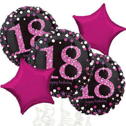 18th Birthday Pink Sparkling Celebration Balloon Bouquet - Assorted Foil 18""