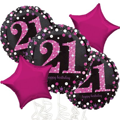 21st Birthday Pink Sparkling Celebration Balloon Bouquet - Assorted Foil 18""