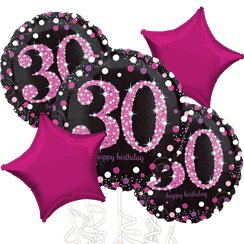 30th Birthday Pink Sparkling Celebration Balloon Bouquet - Assorted Foil 18""