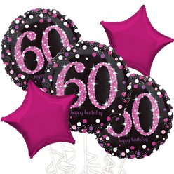 60th Birthday Pink Sparkling Celebration Balloon Bouquet - Assorted Foil 18""