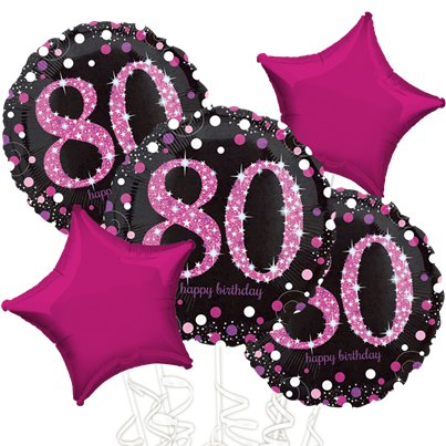 80th Birthday Pink Sparkling Celebration Balloon Bouquet - Assorted Foil 18""