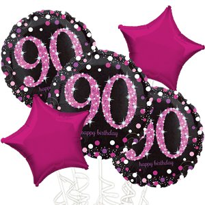 90th Birthday Pink Sparkling Celebration Balloon Bouquet - Assorted Foil 18