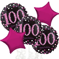 100th Birthday Pink Sparkling Celebration Balloon Bouquet - Assorted Foil 18""