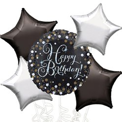 Happy Birthday Silver & Black Sparkling Bouquet of 5 Balloons