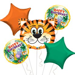 Jungle Birthday Balloon Bouquet - Assorted Foil