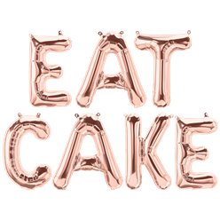 'EAT CAKE' Rose Gold Foil Balloon Kit - 16""