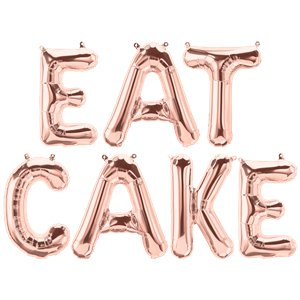 'EAT CAKE' Rose Gold Foil Balloon Kit - 16