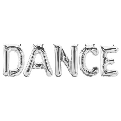 'DANCE' Silver Foil Balloon Kit - 16""