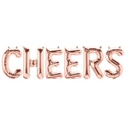 'CHEERS' Rose Gold Foil Balloon Kit - 16""
