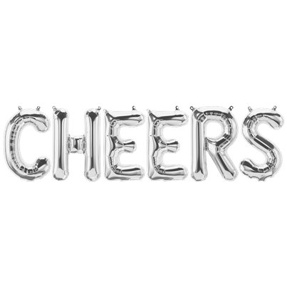 'CHEERS' Silver Foil Balloon Kit - 16""