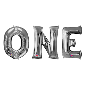 'ONE' Silver Balloon Kit - 34