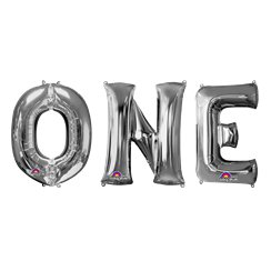 "'ONE' Silver Balloon Kit - 34"" Foil"