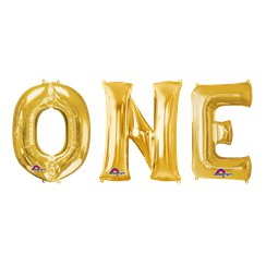 "'ONE' Gold Balloon Kit - 34"" Foil"