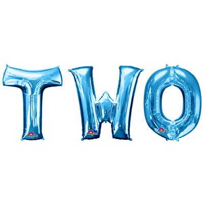 "'TWO' Blue Balloon Kit - 34"" Foil"