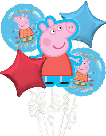 Peppa Pig Balloon Bouquet - Assorted Foil