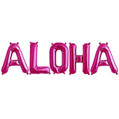 "'ALOHA' Magenta Balloon Kit - 16"" Foils"