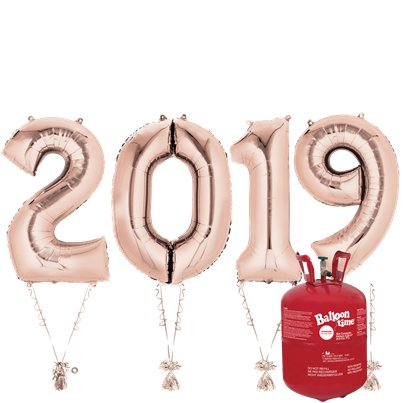 "2019 Rose Gold Foil Balloon Kit With Helium - 34"" Foil"