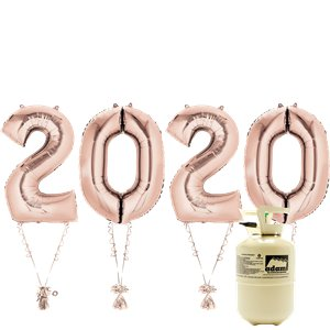 2020 Rose Gold Foil Balloon Kit With Helium - 34