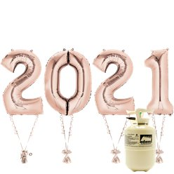 "2021 Rose Gold Foil Balloon Kit With Helium - 34"" Foil"