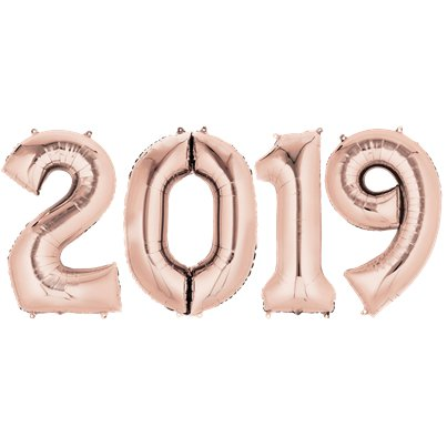 "2019 Rose Gold Foil Balloon Numbers - 34"" Foil"