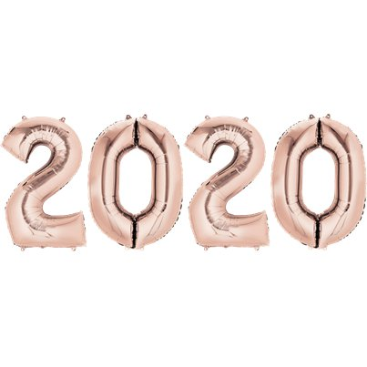 "2020 Rose Gold Foil Balloon Numbers - 34"" Foil"