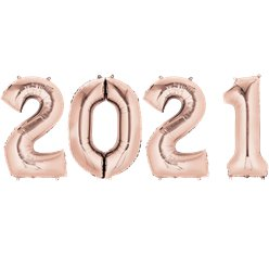 "2021 Rose Copper Foil Balloon Numbers - 34"" Foil"